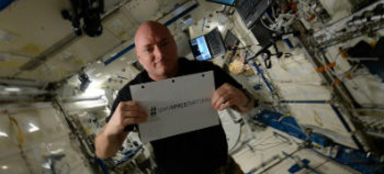 Astronauta Scott Kelly lança campanha com a ONU. Foto: UNOOSA