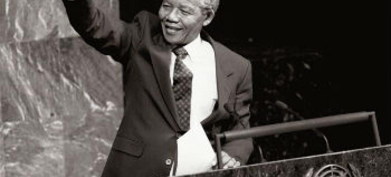 Nelson Mandela discursa na Assembleia Geral. Foto:ONU/P. Sudhakaran