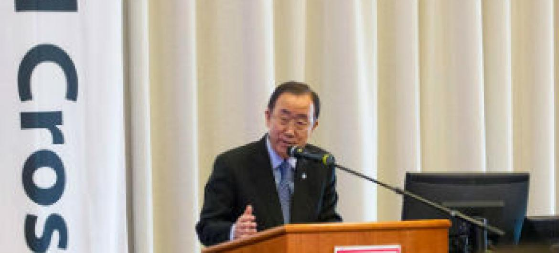 Ban Ki-moon discursa em Oslo, Noruega. Foto: ONU/Rick Bajornas