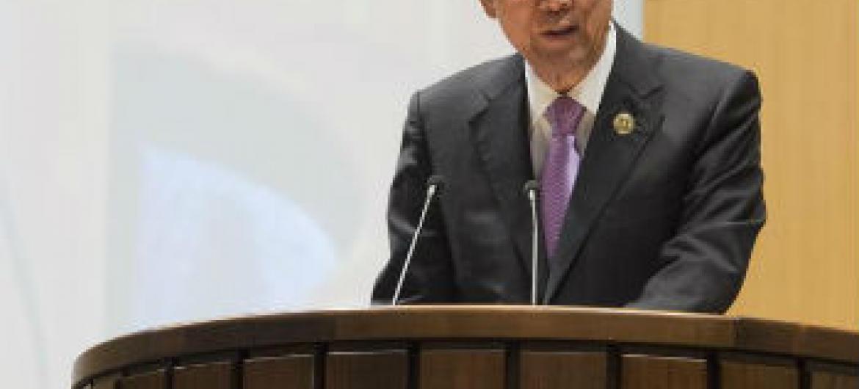 Ban Ki-moon na abertura da Terceira Conferência sobre Financiamento para o Desenvolvimento. Foto: ONU/Eskinder Debebe