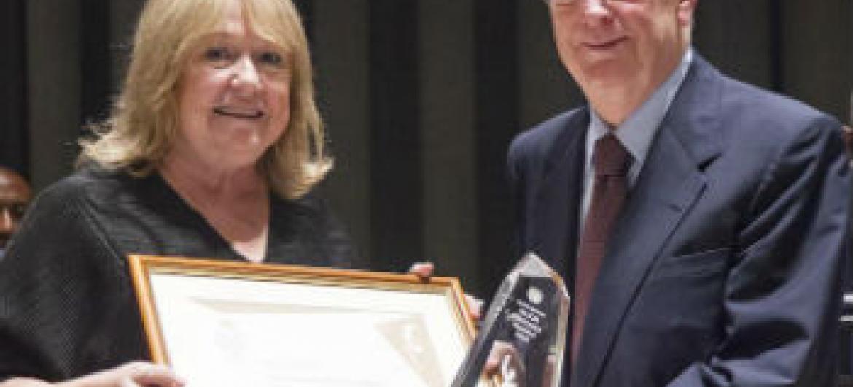 Jorge Sampaio recebe o Prêmio Nelson Mandela. Foto: ONU/Rick Bajornas