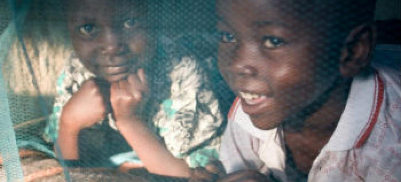 Crianças no Quénia protegidas por redes mosquiteiras. Foto: Unicef/Hallahan
