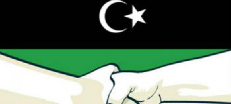 """""""Juntos pela paz na Líbia"""", ilustração da Unsmil."""