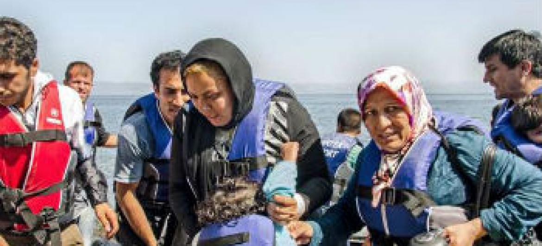 Chegada de migrantes à Grécia. Foto: Acnur/J. Akkash