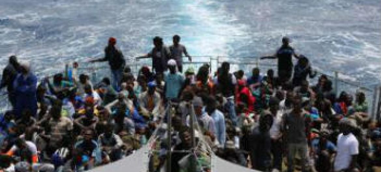 Mais de 2 mil pessoas morreram a atravessar o mar Mediterrâneo este ano. Foto: OIM/Francesco Malavolta