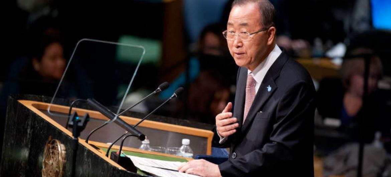 Secretário-geral da ONU, Ban Ki-moon, na abertura da Cúpula das Nações Unidas sobre o Desenvolvimento Sustentável. Foto: ONU/Kim Haughton