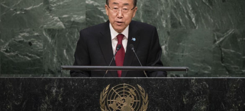 Ban Ki-moon na 70ª Assembleia Geral. Foto: ONU/Cia Pak