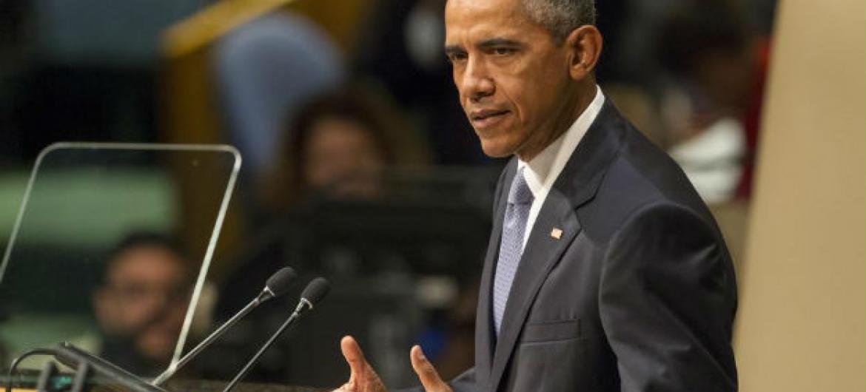 Barack Obama no seu discurso na 70ª Assembleia Geral da ONU. Foto: ONU/Loey Felipe