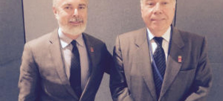 Ministro das Relações Exteriores do Brasil, Mauro Vieira (à direita), ao lado do embaixador do Brasil junto às Nações Unidas, Antonio Patriota.