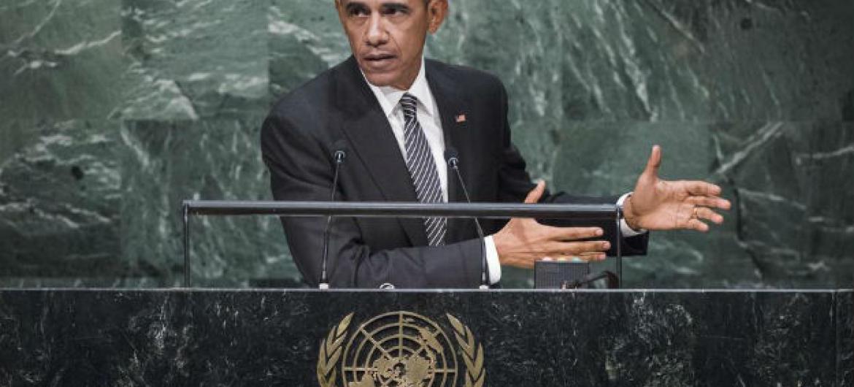 Barack Obama em discurso na Cúpula sobre o Desenvolvimento Sustentável. Foto: ONU/Amanda Voisard