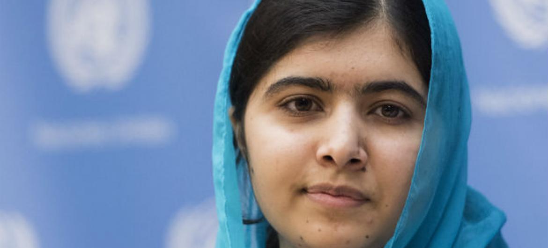 Malala Yousafzai durante coletiva de imprensa. Foto: ONU/Mark Garten