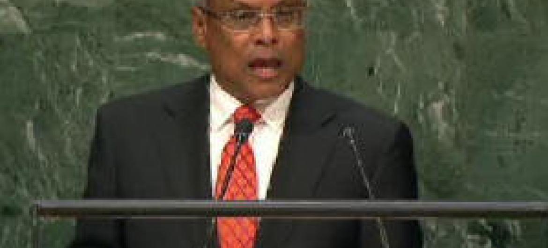 José Maria Neves em discurso na Assembleia Geral. Imagem: TV ONU
