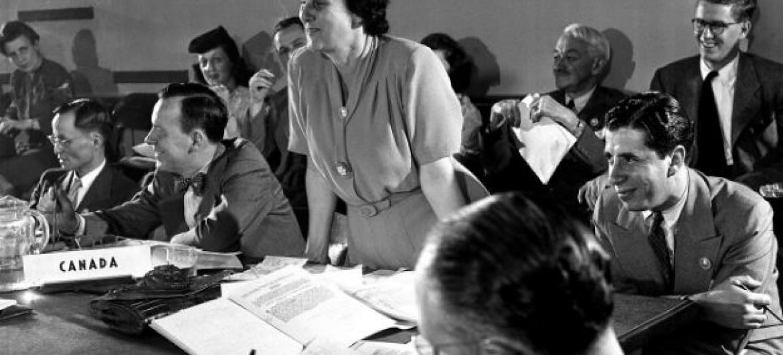 Bertha Lutz, representando o Brasil na assinatura da Carta da ONU em 1945. Foto: Arquivo ONU