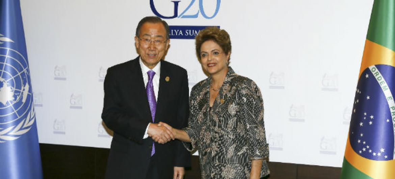 Secretário-geral da ONU, Ban Ki-moon, e presidente do Brasil, Dilma Rousseff, em encontro durante cúpula dos líderes do G20, na Turquia. Foto: ONU/ Eskinder Debebe