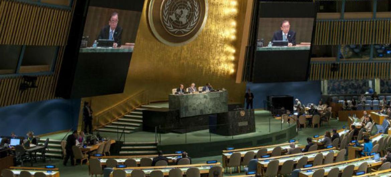 Ban Ki-moon em discurso na Assembleia-Geral. Foto: ONU/Cia Pak