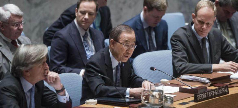 Ban Ki-moon em discurso no Conselho de Segurança, nesta sexta-feira. Foto: ONU/Amanda Voisard