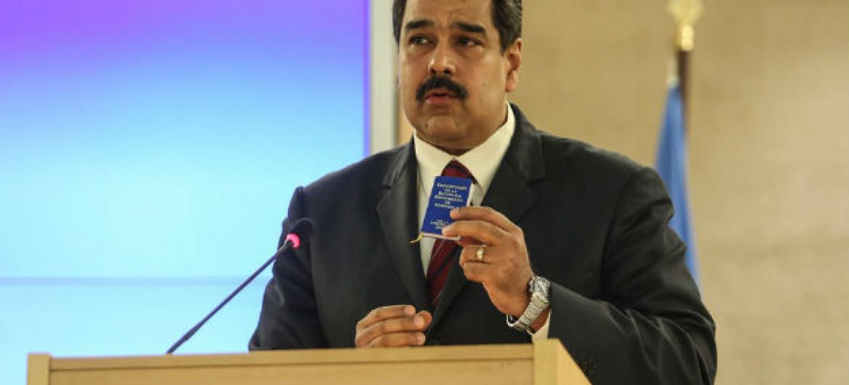 Presidente da Venezuela, Nicolás Maduro Moros, em discurso no Conselho de Direitos Humanos em Genebra. Foto: ONU/Jess Hoffman