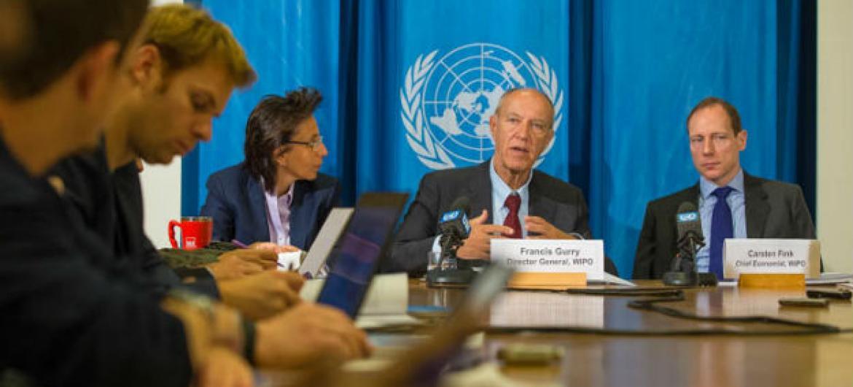 Francis Gurry em discurso na apresentação do relatório. Foto: Wipo