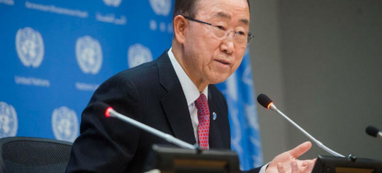 Ban Ki-moon na coletiva de imprensa. Foto: ONU/Amanda Voisard