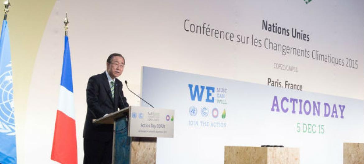 Ban neste sábado participando dos debates da COP21. Foto: ONU/Eskinder Debebe