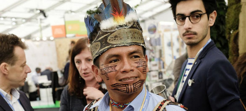 Félix Santi líder do povo Sarayaku. Foto: COP21/Flickr