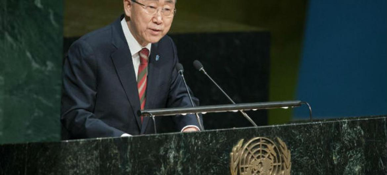 Ban Ki-moon em discurso na Assembleia Geral. Foto: ONU/Manuel Elías