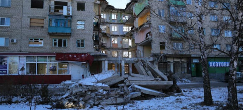 Destruição em cidade na região de Donetsk, ao leste da Ucrânia. Foto: PMA/Abeer Etefa (arquivo)