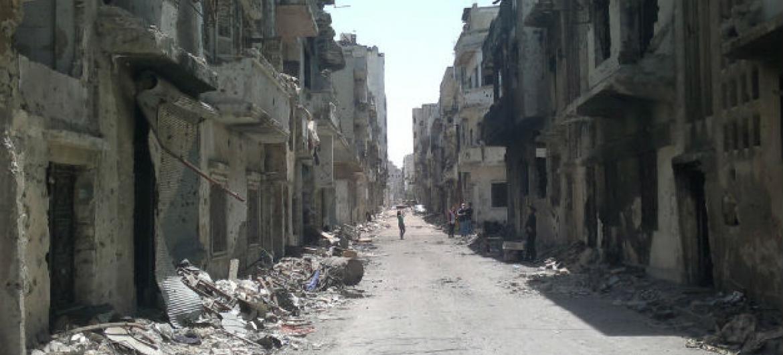 Destruição em Homs, na Síria. Foto: Unicef/Nasar Ali