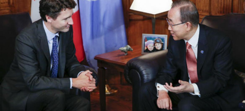 Justin Trudeau e Ban Ki-moon no Canadá. Foto: ONU/Evan Schneider