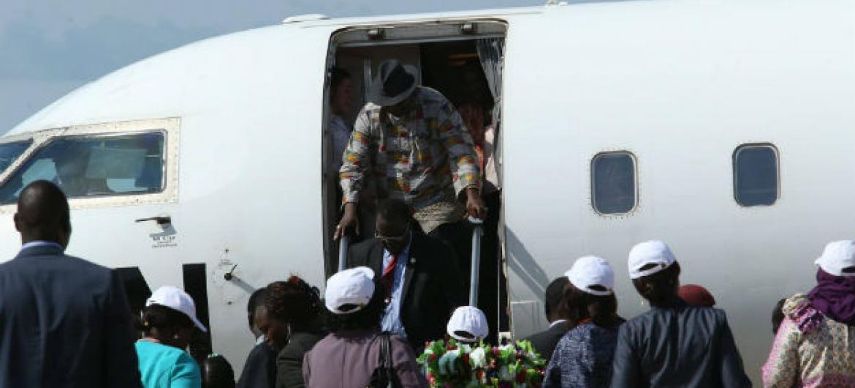 Riek Machar à sua chegada ao aeroporto de Juba, neste 26 de Abril. Foto:Unmiss/Isaac Billy