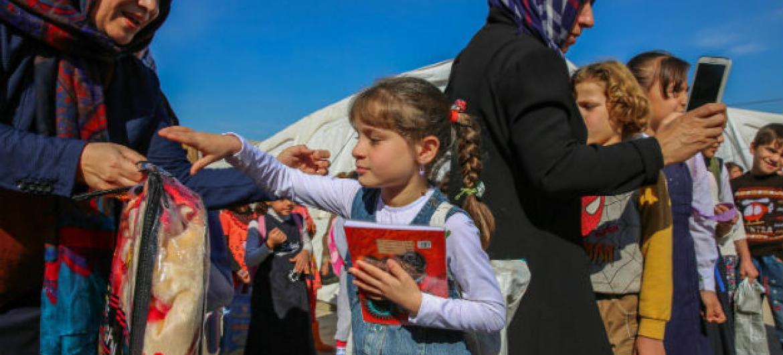 Segundo o Unicef, os sistemas de educação em todo o mundo estão sendo destruídos por conflitos armados, desastres naturais e emergências de saúde.Foto: Unicef/UN06474/Anmar