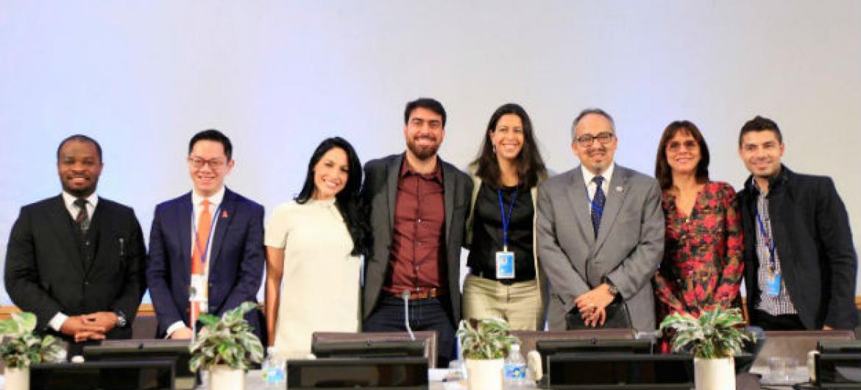 Equipe Unaids Brasil e TV Globo em debate na sede da ONU. Foto: Unaids Brasil