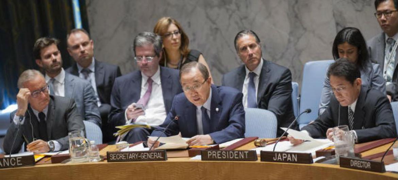 O secretário-geral da ONU, Ban Ki-moon, em discurso no Conselho de Segurança. Foto: ONU/Rick Bajornas