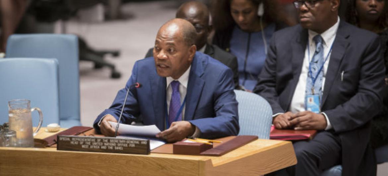 Mohamed Ibn Chambas em reunião nesta segunda-feira no Conselho de Segurança. Foto: ONU/Manuel Elias