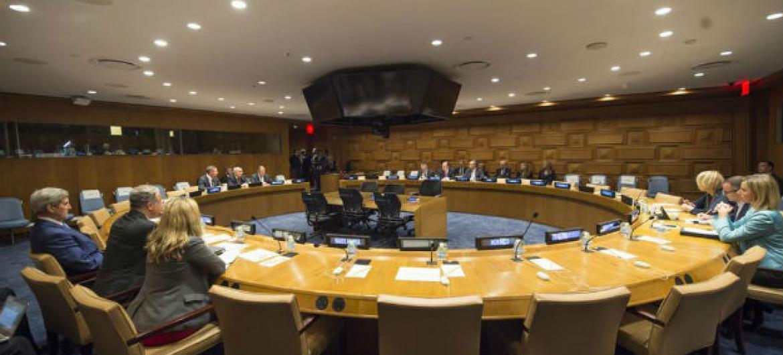 Sala de reunião com os membros do Quarteto do Oriente Médio. Foto: ONU/Eskinder Debebe