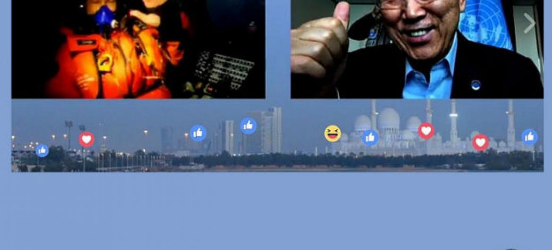 Secretário-geral da ONU (à dir.) conversa com integrantes do Impulso Solar via Facebook Live. Foto: Reprodução