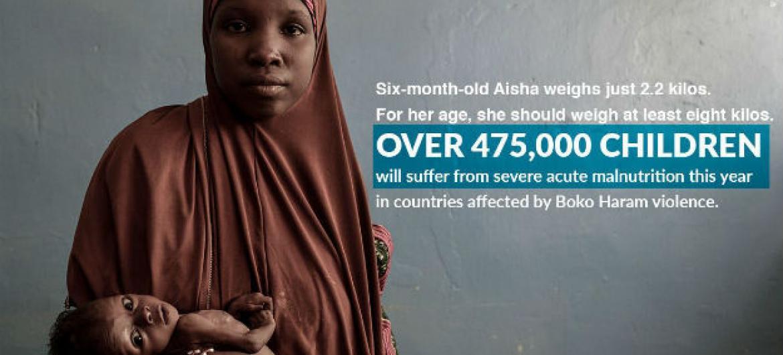 Desnutrição severa é outro problema a afectar 475 mil crianças da região.Foto: Unicef Nigéria/Rich