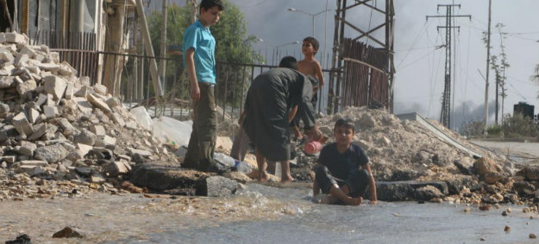 Crianças em Alepo, na Síria. Foto: Unicef/Abdulrahman Ismail