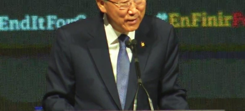 Secretário-geral da ONU, Ban Ki-moon, discursa em evento do Fundo Global em Montreal, Canadá. ONU/Imagem de vídeo.