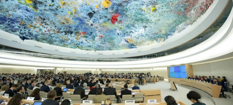 Saguão do Conselho de Direitos Humanos da ONU. Foto: ONU/Jean-Marc Ferré.