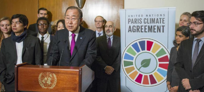 Ban Ki-moon em coletiva de imprensa sobre a entrada em vigor do Acordo de Paris.Foto: ONU/Rick Bajornas