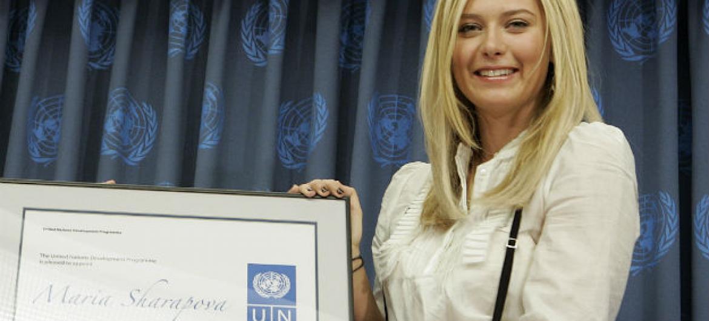 Sharapova vai retomar suas atividades como embaixadora da Boa Vontade do Pnud a partir de abril de 2017. Foto: ONU/Eskinder Debebe