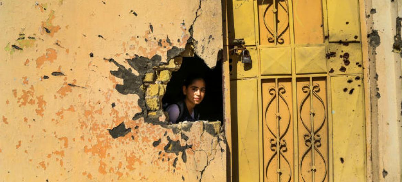Escola destruída pela guerra em Ramadi, no Iraque. Foto: Unicef/Wathiq Khuzaie