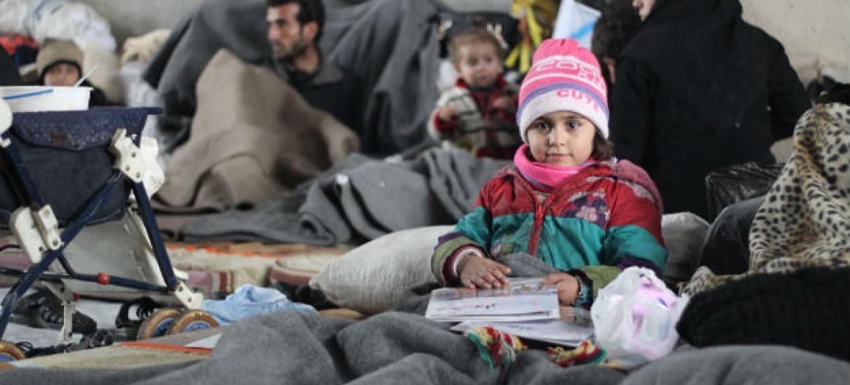 Famílias desalojadas em Alepo, Síria. Foto: Unicef/Al-Issa
