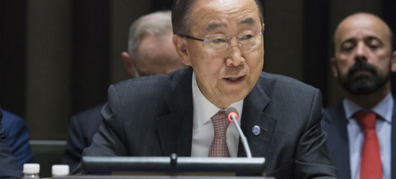 Ban Ki-moon durante discurso nesta quinta-feira. Foto: ONU/Eskinder Debebe