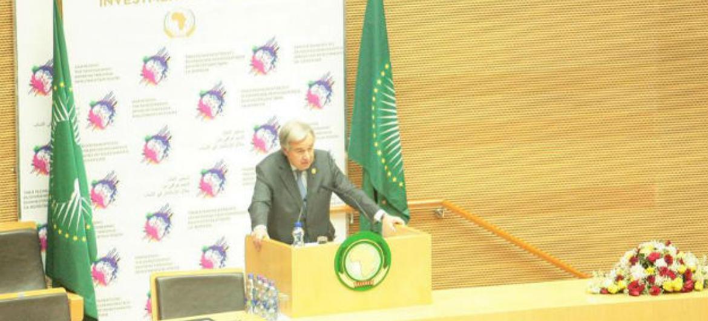 António Guterres em Adis Abeba, Etiópia. Foto: ONU/Antonio Fiorente