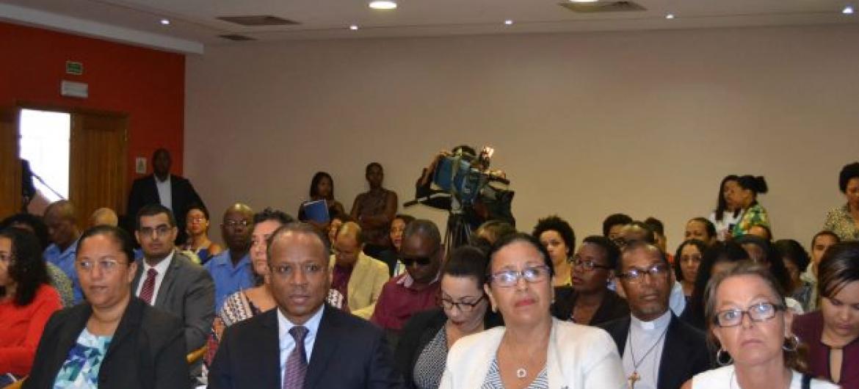 Primeiro-ministro de Cabo Verde, Ulisses Correia e Silva, e representantes do governo na apresentação da iniciativa. Foto: ONU/Cabo Verde.