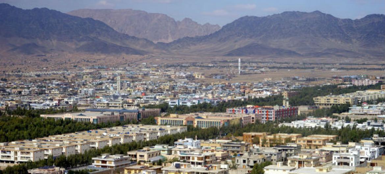 Vista da cidade de Qandahar, no Afeganistão. Foto: Unama