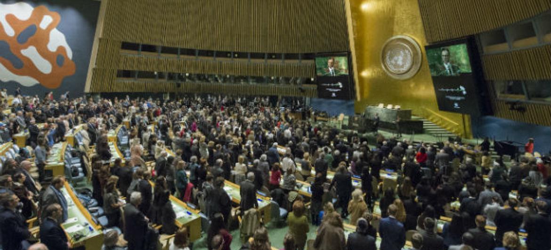 Eventoque marcou o Dia Internacional em Memória das Vítimas do Holocausto na sede da ONU, em Nova York. Foto: ONU/Manuel Elias