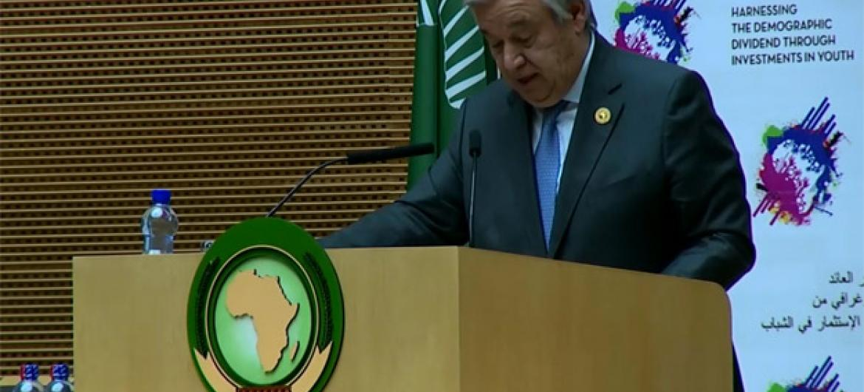 António Guterres. Foto: Reprodução vídeo União Africana